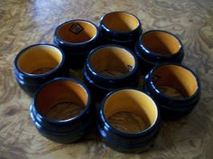 Vintage, Napkin Rings, Black Wood, Set Of 8, Nanas Vintage Shop On