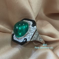 Colombia round cabochon emerald onyx with diamonds ring。誠記 Real Jewellery co.。