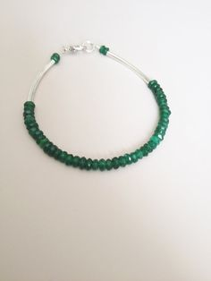 Emerald Green Silver Bracelet  Light Bracelet by LittleGemsByLuisa