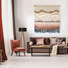 """$2,800 USD. This handmade, dip-dyed and woven tapestry is the perfect solution if you are looking for an aesthetic interior upgrade for your living room, home office, hallway or bedroom. I would love to create this piece especially for you, so please don't hesitate to reach out if you have any questions or customization requests. Size: 60"""" dowel width x 64"""" length"""" (152 cm x 162 cm) Handmade-to-order (roughly 4 weeks to create) Free Worldwide Shipping with UPS Express (2 days) Living Room Modern, Living Room Decor, Macrame Plant Hanger Patterns, Large Macrame Wall Hanging, Contemporary Wall Art, Tapestry Weaving, Wall Hanger, Dip Dyed, Wall Hangings"""