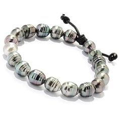 125-649 - 7'' 9-10mm Peacock Tahitian Cultured Pearl Leather Strung Bracelet
