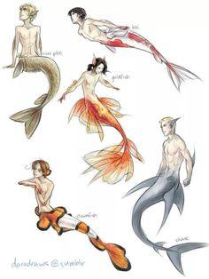 Different fish people/ mermaid/men.                                                                                                                                                                                 More
