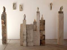Jane Rosen, Artist. Glass birds, limestone plinths
