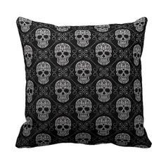 Grey and Black Sugar Skull Pattern Throw Pillows http://www.branddot.com/14/grey_and_black_sugar_skull_pattern_throw_pillows-189380664382318293