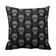 Grey and Black Sugar Skull Pattern Throw Pillows