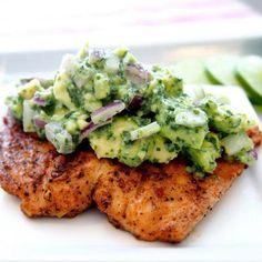 Grilled Salmon Recipe with Avocado Salsa (Healthy Salmon Recipe!) is the BEST Salmon Recipe and just happens to be approved! Spice rubbed Grilled Salmon topped with a creamy Avocado Salsa is one of the best Recipes you'll ever try. Whole30 Salmon Recipes, Grilled Salmon Recipes, Avocado Recipes, Healthy Recipes, Grilled Avocado, Delicious Recipes, Easy Recipes, Delicious Blog, Shrimp Avocado