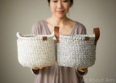 Crochet this sturdy basket using the beautiful waistcoat stitch also known as center single crochet! Add leather or crochet handles!
