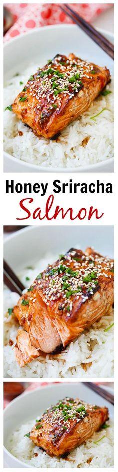 Honey Sriracha Salmon - easy, spicy, sweet, and savory, this glazed salmon recipe is awesome, from the @skinnytaste cookbook | rasamalaysia.com | #salmon