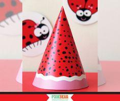 Printable Ladybug Birthday Hat by PixieBearParty on Etsy #ladybug #partyhat