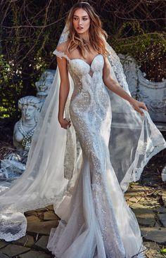 Avena wedding dress, Galia Lahav. Mermaid gown with sheer low back and embroidered silk net detail. #wedding #dress
