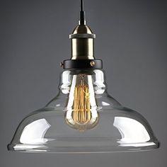 "$31, 1-Light Industrial Glass 11"" Pendant Light, Edison Vintage Style"