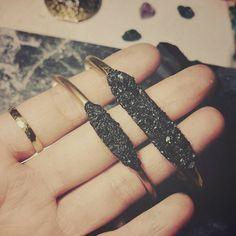 Tourmaline cuff bracelet Black tourmaline cuff by AnaberJewelry