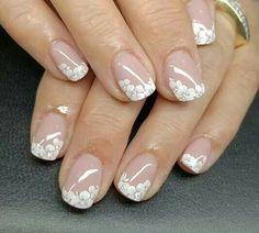 Glitter Nail Art, Gel Nail Art, Nail Manicure, Daisy Nails, Blue Nails, Classy Acrylic Nails, Wedding Nails Design, Nail Art Videos, French Tip Nails