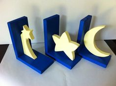 Star, Moon and Shooting Star Bookends! Mix and match however you would like. You may also choose your own colors! If you have specific colors