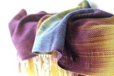Hand woven scarf gradient color mustard, purple blue gold long scarf with fringe