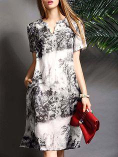 Shop Midi Dresses - White Slit V Neck Short Sleeve Midi Dress online. Discover unique designers fashion at StyleWe.com.