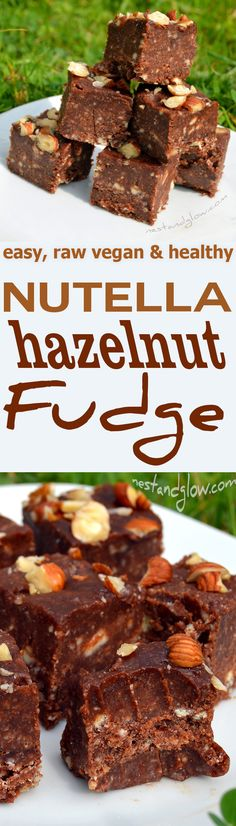 This Nutella Chocolate Hazelnut Fudge has the taste of nutella but is made from pure natural ingredients. A healthy fudge full of nutritious raw fats Vegan Candies, Raw Vegan Desserts, Vegan Dessert Recipes, Raw Food Recipes, Sweet Recipes, Vegetarian Recipes, Ketogenic Recipes, Vegan Food, Healthy Fudge