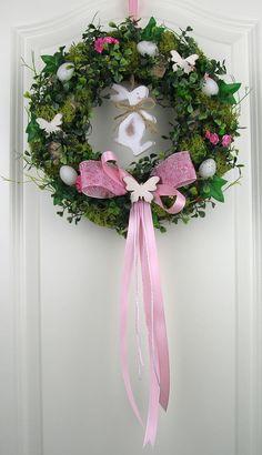 Osterkranz rosa Frühlingskranz Wandkranz Shabby Tükranz Frühling Kranz Ostern