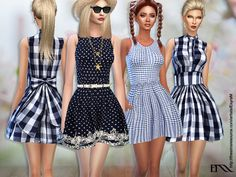 Spring Cotton Dress /3 versions Found in TSR Category 'Sims 4 Sets'
