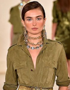 Trendy #Jewelry style for SS 2015:Layered Choker#collar #necklace. Ralph Lauren Spring Summer 2015. #Spring2015 #SS15