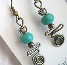 Turquoise Beads and Hearts with gunmetal wire Wrapped Dangle Earrings
