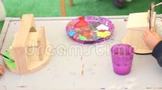 Video about Painting workshop for children - two kids painting little objects of wooden. Video of hobby, artistic, colorful - 77797239 Videos Of Kids, Image Painting, Painting Workshop, Painting For Kids, Wooden Toys, Objects, Abstract, Children, Artist