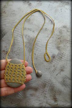 On Sale Artist Necklace Crocheted Lace Harvest Gold Thread Crochet Stone, Love Crochet, Beautiful Crochet, Hand Crochet, Crochet Lace, Thread Crochet, Crochet Hooks, Dream Catcher Necklace, Fabric Jewelry