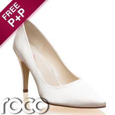 Ladies Ivory Satin Formal Wedding Bridesmaid Bridal Designer Rainbow Club Shoes #Court #Wedding