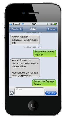 Turkcell Facebook SMS