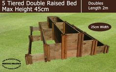 45cm High 5 Tiered Double Raised Beds - Blackdown Range