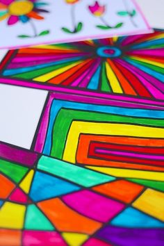 """""""Stained Glass Art"""".  Create unique, vibrant pieces of art with Sharpies and Photo paper!                       Gloucestershire Resource Centre http://www.grcltd.org/scrapstore/"""