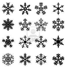 16 Black and White Snowflakes Set. Easy to edit vector. Stock Photo