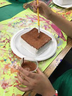 it's art day: Slice of Cake Art Food Sculpture, Sculptures, Art For Kids, Crafts For Kids, Cake Art, How To Make Cake, Art Day, Art Lessons, Art Work
