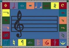 NOTE WORTHY© Area Rug with a Musical Motif    The musical staff and basic music symbols are introduced in this colorful accent rug, ideal for classrooms,  after-school programs, or any space where an appreciation of music is encouraged.