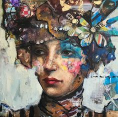 """Mixed Media Print on canvas//woman with paper flowers/limited edition, embellished, numbered, signed Vera"""" 16x16"""
