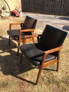 Mid Century Modern Pair Of Armchairs, Manufactured By The Gunlocke Company  #MidCenturyModern #