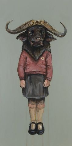 "Michael McConnell - ""Little Water Buffalo- Abundant Reverence"" 48"" x 24"" , acrylic on wood, 2010"
