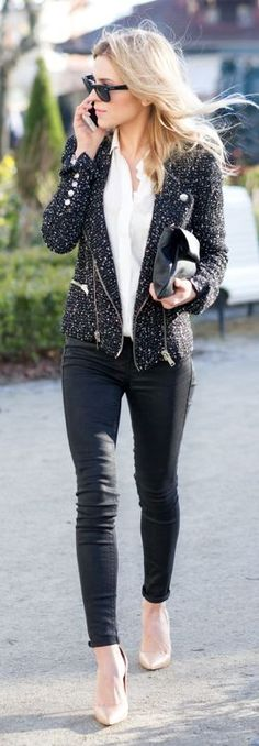 Stylish Black And White Outfit Idea by Make Life Easier