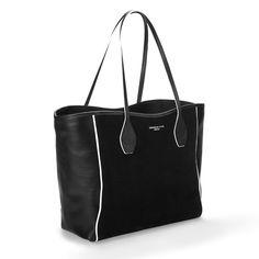 Olivia Black Leather Tote Bag with White Trim - Thomas Lyte