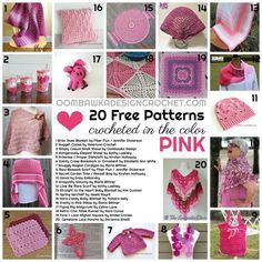 20 Free Patterns Crocheted in the Color Pink - https://oombawkadesigncrochet.com/2017/06/20-free-patterns-crocheted-in-the-color-pink.html