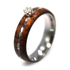Diamond Ring Wood Ring w Mother Of Pearl by jewelrybyjohan on Etsy