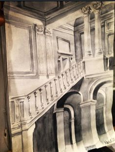 Drawing architecture . Sketch . Interior . Paint . Watercolor