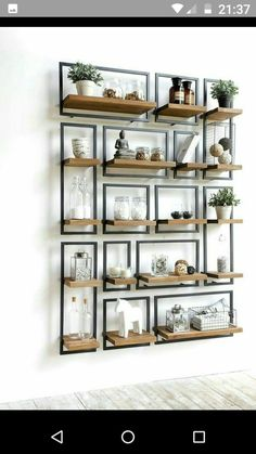 Modern Industrial Iron and Wood Shelving Decor Ideas is part of diy-home-decor - Combining modern design with industrial decor Over twenty iron and wood industrial shelving designs for you to feed your design ideas Pallet Shelves, Wood Shelves, Floating Shelves, Glass Shelves, Kitchen Shelves, Bookshelf Diy, Floating Cabinets, Bookshelf Styling, Storage Shelves