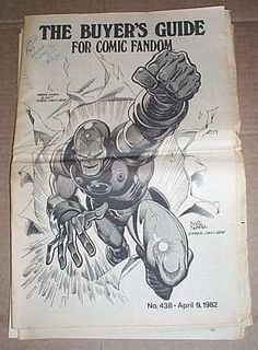 Vintage 1982 The Buyer's Guide for Comic Fandom TBG/CBG 1980's comic book fanzine newspaper issue 438: Marvel Comics Iron Man Ironman cover: Comic Buyer's Guide magazine