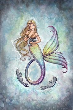 Mermaid and Baby Seals Fine Art Print 11 x 17 by MollyHarrisonArt, $26.00