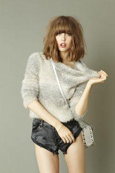Fuzzy Crop Knit and Bandits Cutoff Shorts