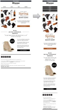 Responsive email design from Dune - Email Blasts - Ideas of Email Blasts - Responsive email design from Dune Email Newsletter Design, Email Newsletters, Email Design, Newsletter Ideas, Responsive Grid, Responsive Web Design, Web Layout, Layout Design, Web Design Inspiration
