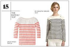 2013 Wardrobe Essentials: The Bateau Top — No question, a simple, striped T-shirt is summers secret weapon, and if yours from last year is a little worse for wear, this is a great chance to upgrade, tout suite.Jack Wills Alburgh Breton Tee; By Malene Birger Sailor Striped Knit Top.