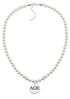 These sorority jewelry pearl necklaces are the highest quality available. Made from solid sterling silver and white glass pearls. Up to date modern styling with traditional pearls make these necklaces extremely popular with today's sorority sisters and alumni.