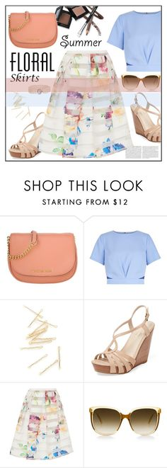 """""""Floral Skirt*"""" by biange ❤ liked on Polyvore featuring MICHAEL Michael Kors, New Look, Seychelles, Ted Baker, Blue Nile and Floralskirts"""